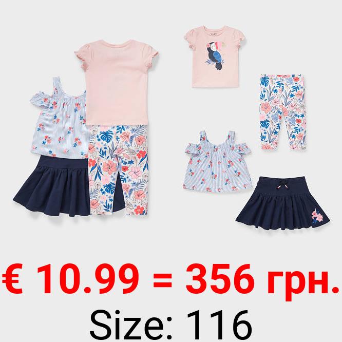 Set - Kurzarmshirts, Rock und Capri-Leggings - Bio-Baumwolle