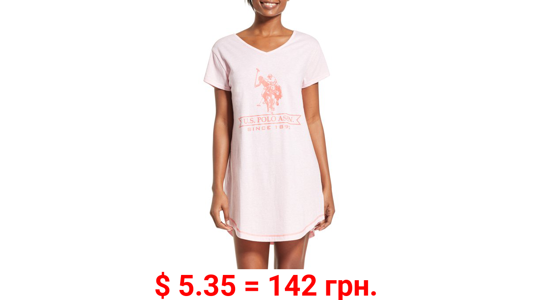 U.S. Polo Assn. Women's Short Sleeve Pajama Night Shirt Dress with V-neck USPA Logo and open back