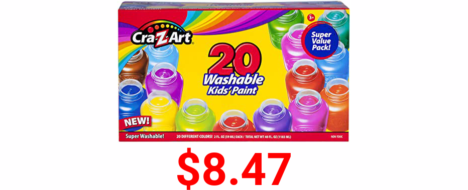 Cra-Z-Art Washable Kids Paint Set 20 Assorted Colors 2oz Each