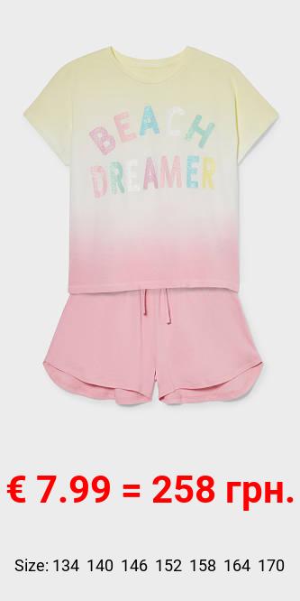 Shorty-Pyjama - Bio-Baumwolle - Glanz-Effekt