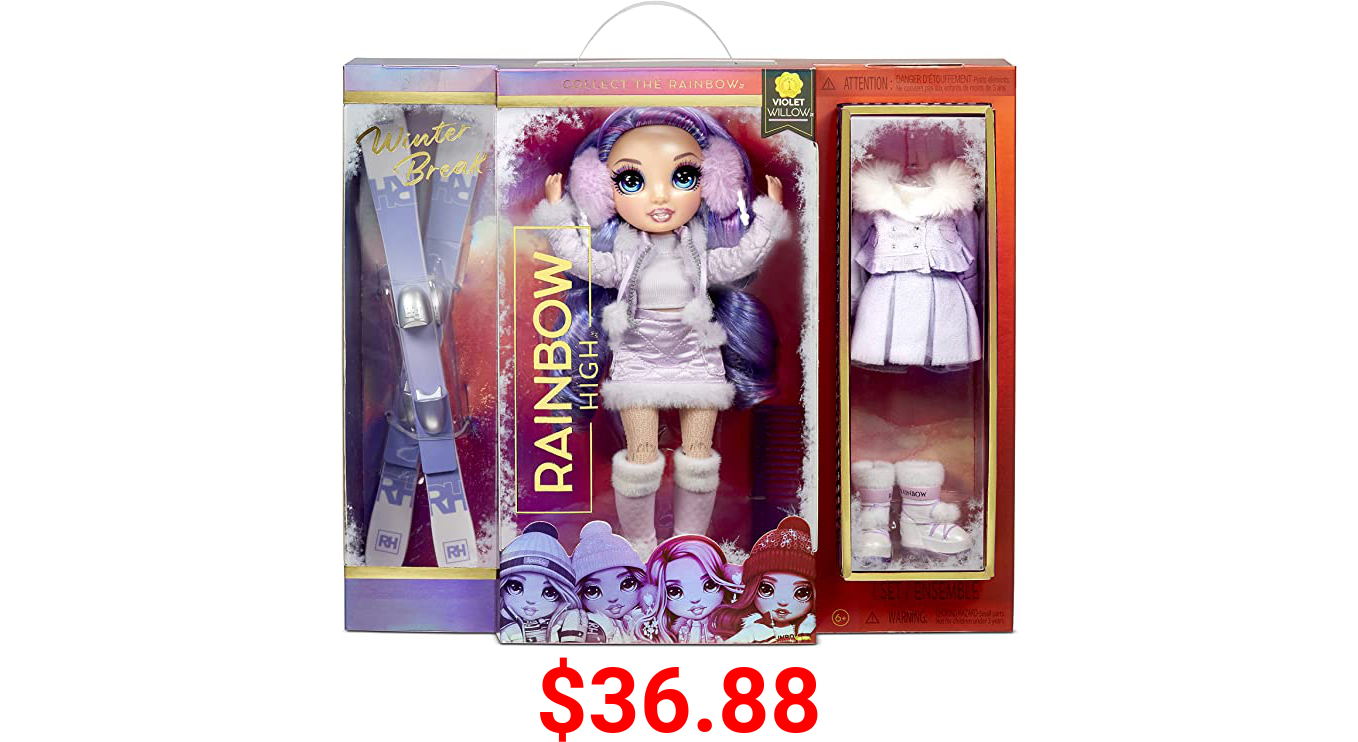Rainbow High Winter Violet Willow – Purple Winter Break Fashion Doll and Playset with 2 Complete Doll Outfits, Pair of Skis and Winter Doll Accessories, Great Gift for Kids 6-12 Years Old