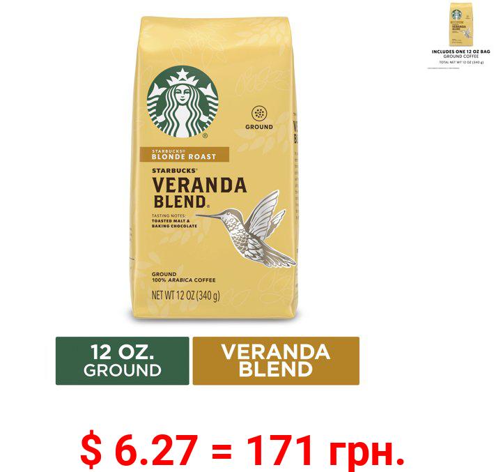 Starbucks Blonde Roast Ground Coffee — Veranda Blend — 100% Arabica — 1 bag (12 oz.)