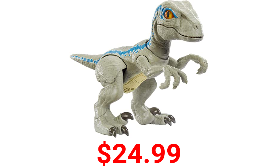 Jurassic World Primal Pal Blue with Spring-activated Action, Sound Effects Plus Neck, Shoulder, Tail and Feet Articulation for Added Play Movement [Amazon Exclusive]
