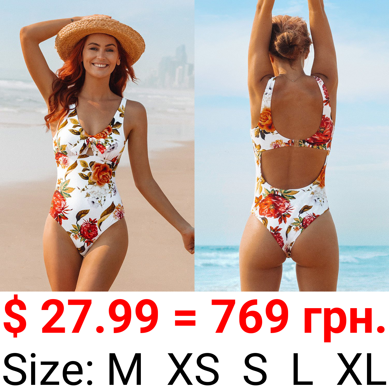 Romantic White Floral One-Piece Swimsuit