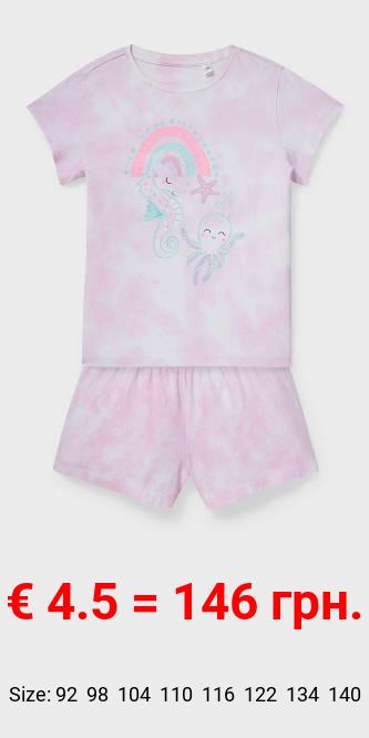 Shorty-Pyjama - Bio-Baumwolle - 2 teilig - Glanz-Effekt