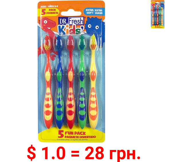 Dr. Fresh Kids' Toothbrushes, Extra Soft, 5 ct