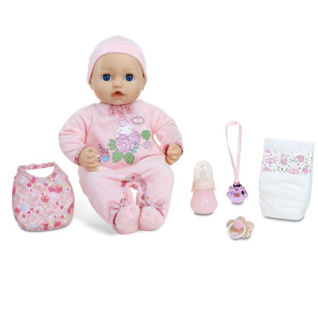Baby Annabell Blue Eyes Soft-Bodied Baby Doll, Makes Sounds, Cries, Wets, and Poops;