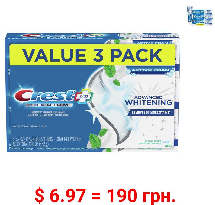 Crest Premium Plus Advanced Whitening Toothpaste, Mint, 5.2 oz, 3 pk