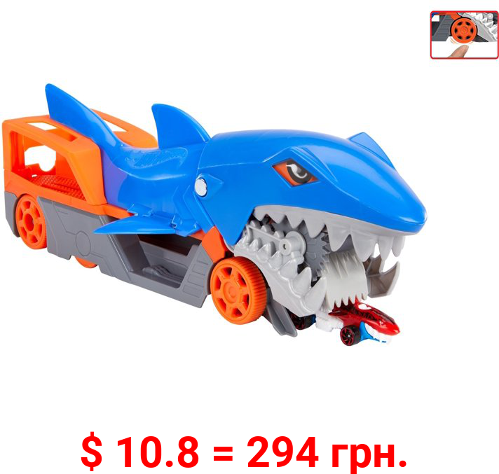 Hot Wheels Shark Chomp Transporter Playset With One 1:64 Scale Car For Kids 4 To 8 Years Old
