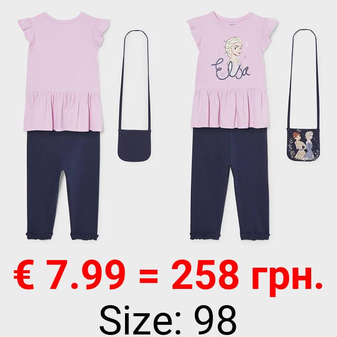 Die Eiskönigin - Set - Kurzarmshirt, Leggings und Tasche - Bio-Baumwolle