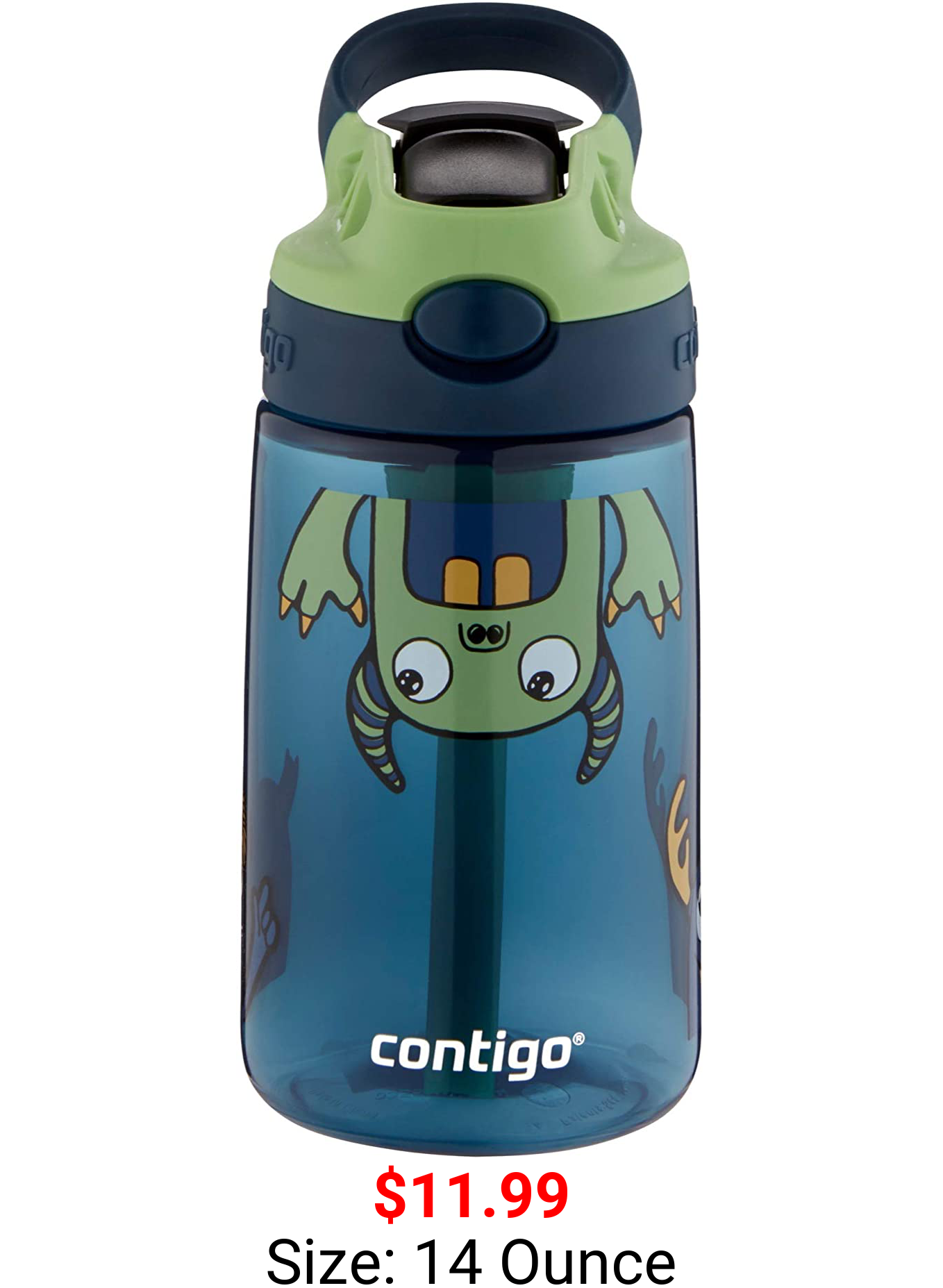 Contigo Kids Water Bottle with Redesigned AUTOSPOUT Straw, 14 oz., Monster