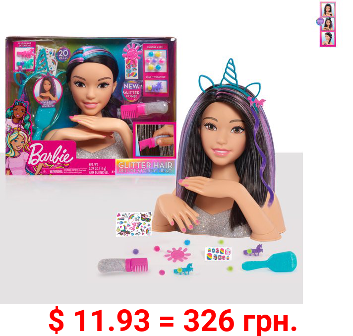 Barbie Deluxe 20-Piece Glitter and Go Styling Head – Black Hair, Ages 5 +