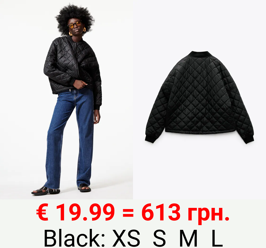 QUILTED RIBBED BOMBER JACKET