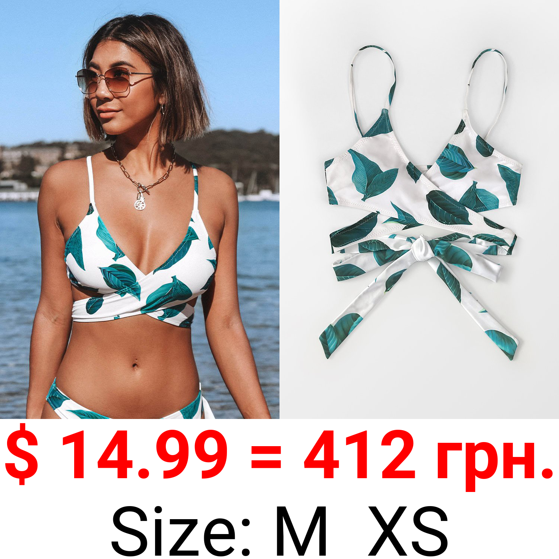 Aniyah Tropical Wrap Bikini Top