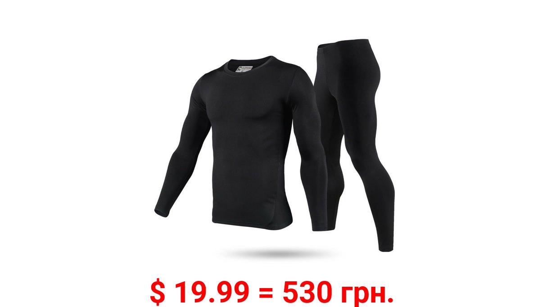 Men's Ultra-Soft Tagless Fleece Lined Thermal Top & Bottom Underwear Set, Black, Large