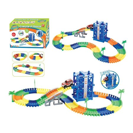 Magic track car flexible with lift create your own track 120 pcs
