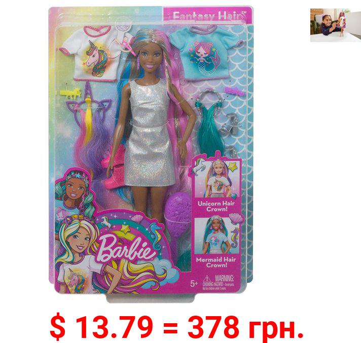 Barbie Fantasy Hair Doll with Mermaid & Unicorn Looks