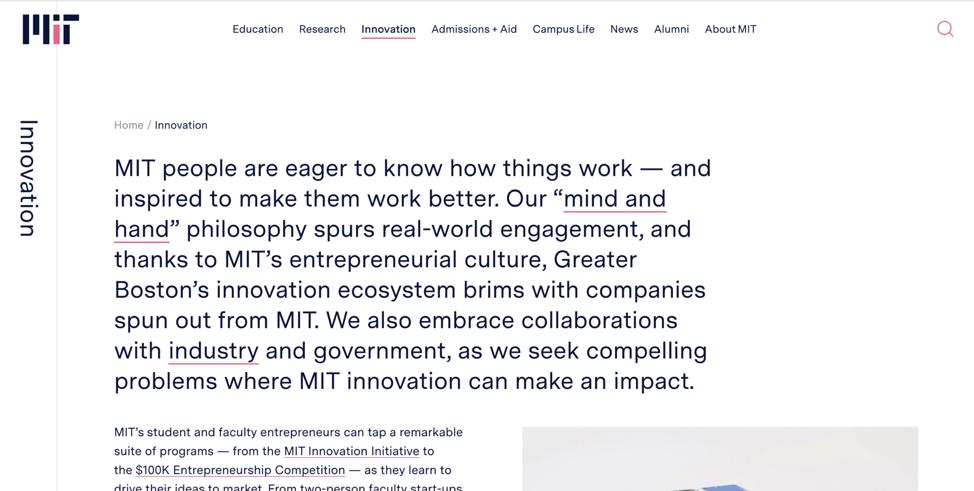 Основной веб-сайт MIT имеет плоскую иерархию, в каждом разделе по одной странице. Хотя в верхней части страницы есть хлебные крошки, эта хлебная крошка не нужна. В основной навигации расположение страницы подсвечивается.