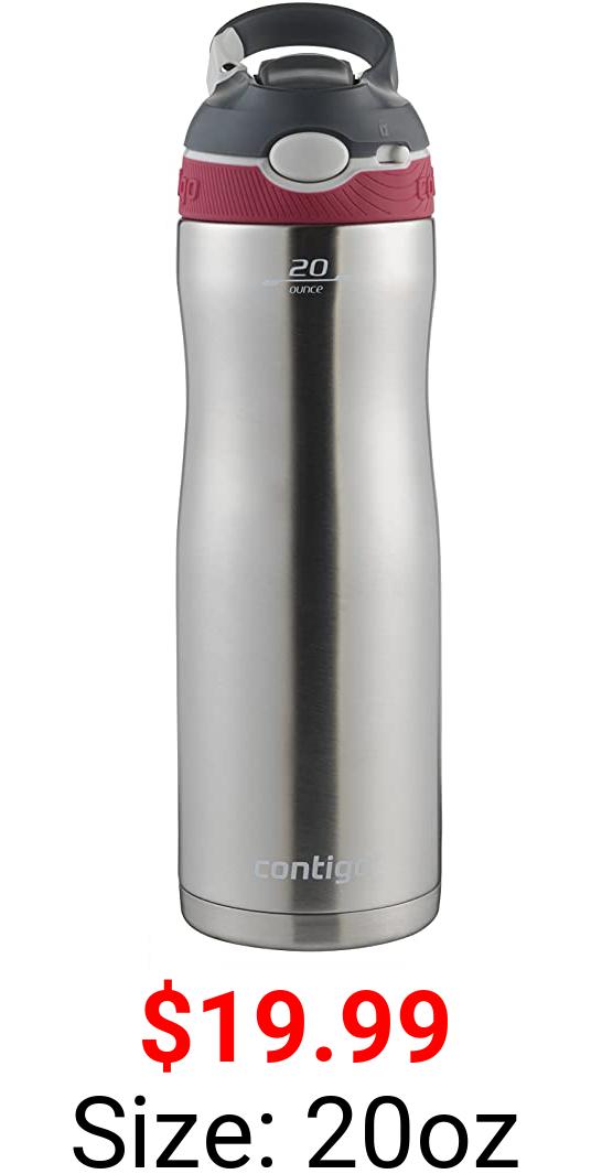 Contigo AUTOSPOUT Straw Ashland Chill Stainless Steel Water Bottle, 20 oz, Sangria