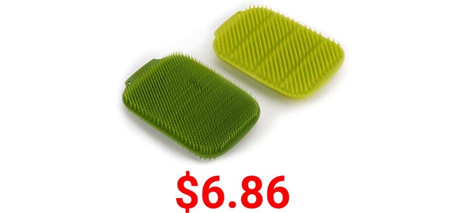 Joseph Joseph CleanTech Reusable Sponge Scrubbers Hygienic Quick-Dry, 2-Pack, Green
