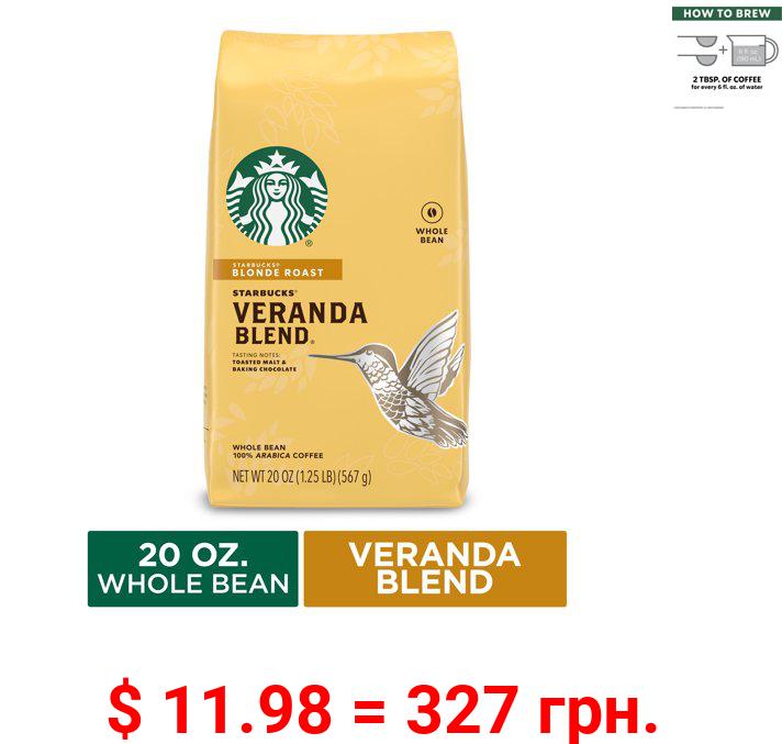 Starbucks Blonde Roast Whole Bean Coffee — Veranda Blend — 1 bag (20 oz.)