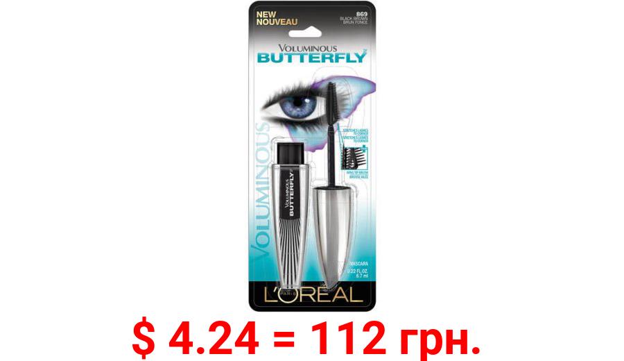 L'Oreal Paris Voluminous Butterfly Lengthening Washable Mascara, Black Brown, 0.22 fl oz