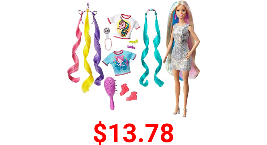 Barbie Fantasy Hair Doll, Blonde, with 2 Decorated Crowns, 2 Tops & Accessories for Mermaid and Unicorn Looks, Plus Hairstyling Pieces, for Kids 3 to 7 Years Old