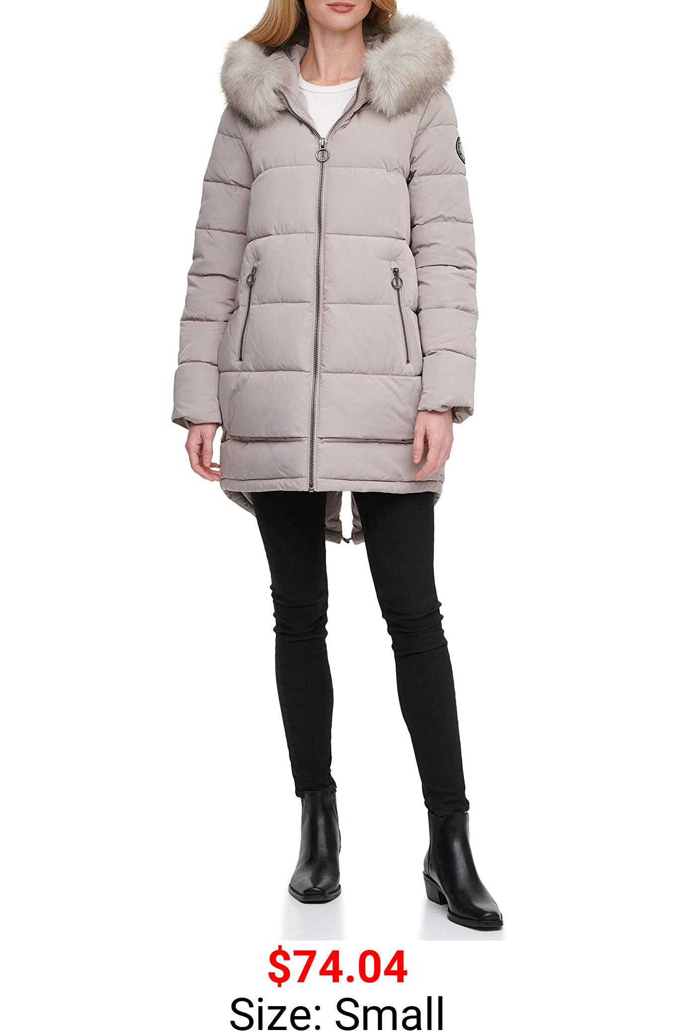 DKNY Women's Fur Trim Walker Puffer