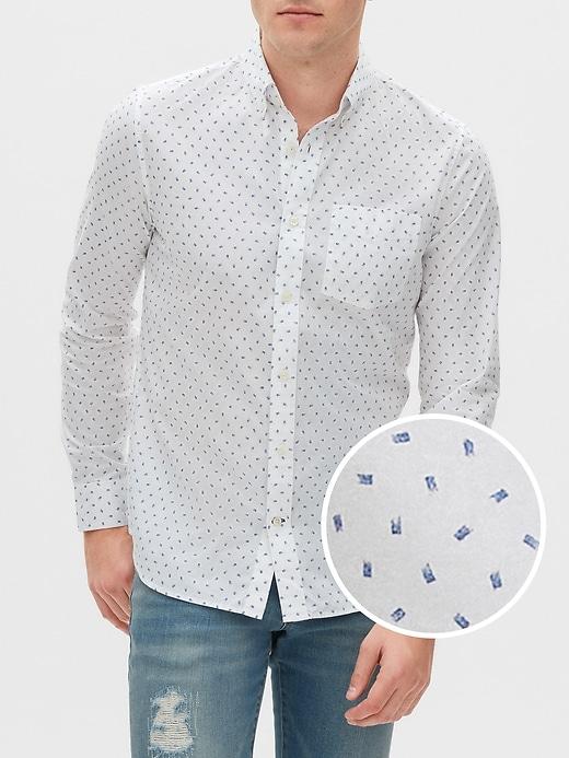 Print Poplin Long-Sleeve Shirt in Slim Fit