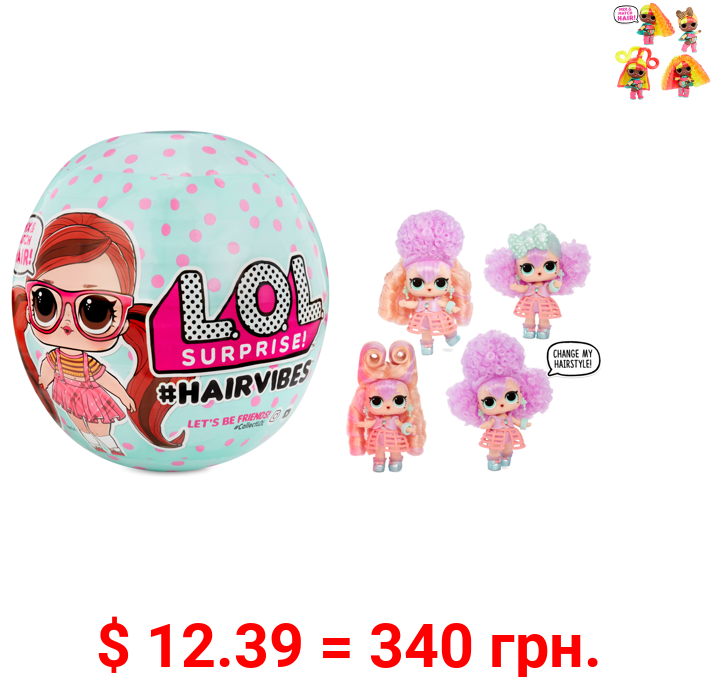 LOL Surprise Hairvibes Dolls With 15 Surprises Including Exclusive Doll, Fashion Outfits, Shoes, Accessories, Wigs, And More - For Kids Ages 6-8