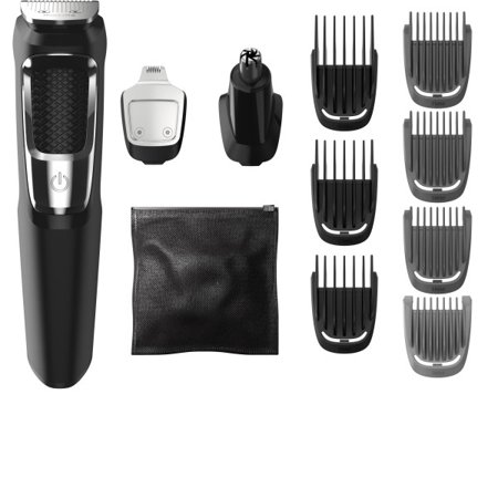 Philips Norelco Multigroom 3000, MG3750/60, 13 attachments for beard, face, nose, and ear hair trimmer and hair clipper - Oil-free grooming
