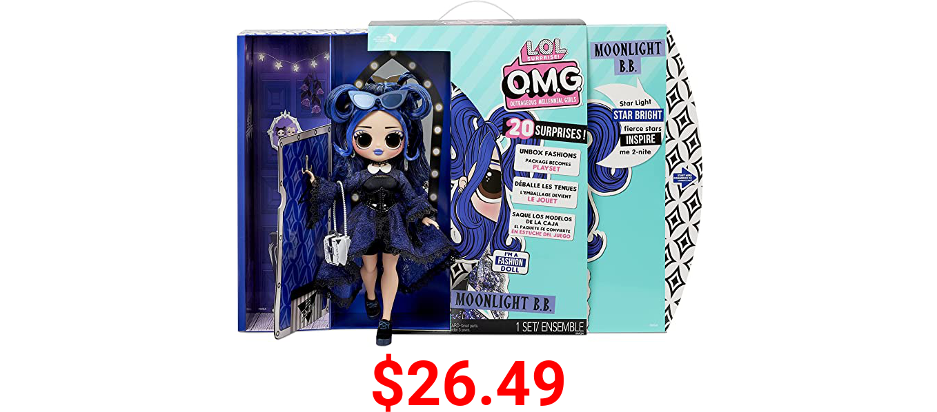 LOL Surprise OMG Moonlight B.B. Fashion Doll - Dress Up Doll Set with 20 Surprises for Girls and Kids 4+