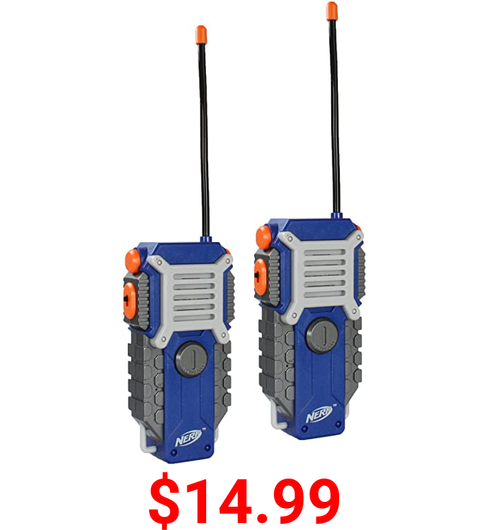 NERF Walkie Talkies for Kids by Sakar   Powerful 1000ft Range, Speakers, Rugged Design, Battery Powered, Outdoor Toys for Boys and Girls (Gray, Blue, & Orange)