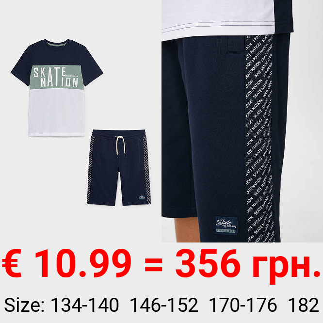 Set - Kurzarmshirt und Sweatshorts - 2 teilig