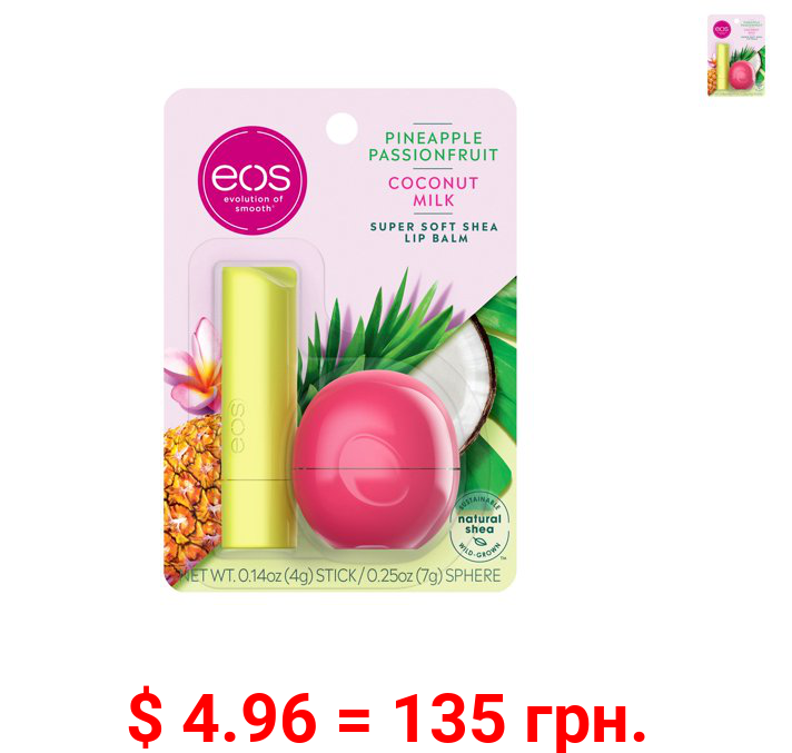 eos Super Soft Shea Lip Balm Stick & Sphere - Pineapple Passionfruit and Coconut Milk , Moisuturzing Shea Butter for Chapped Lips , 0.39 oz, 2 count