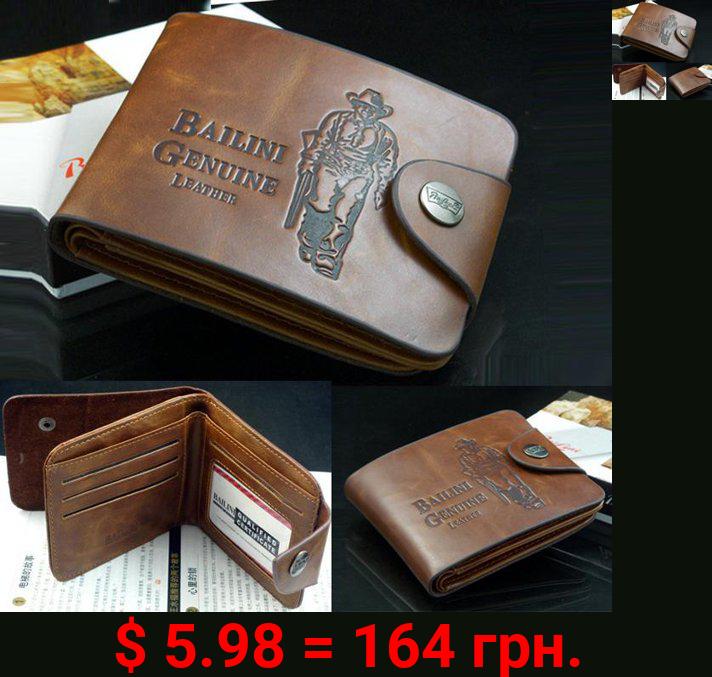 Men's Boys Leather Pockets Credit/ID Cards Holder Purse Wallet HFON