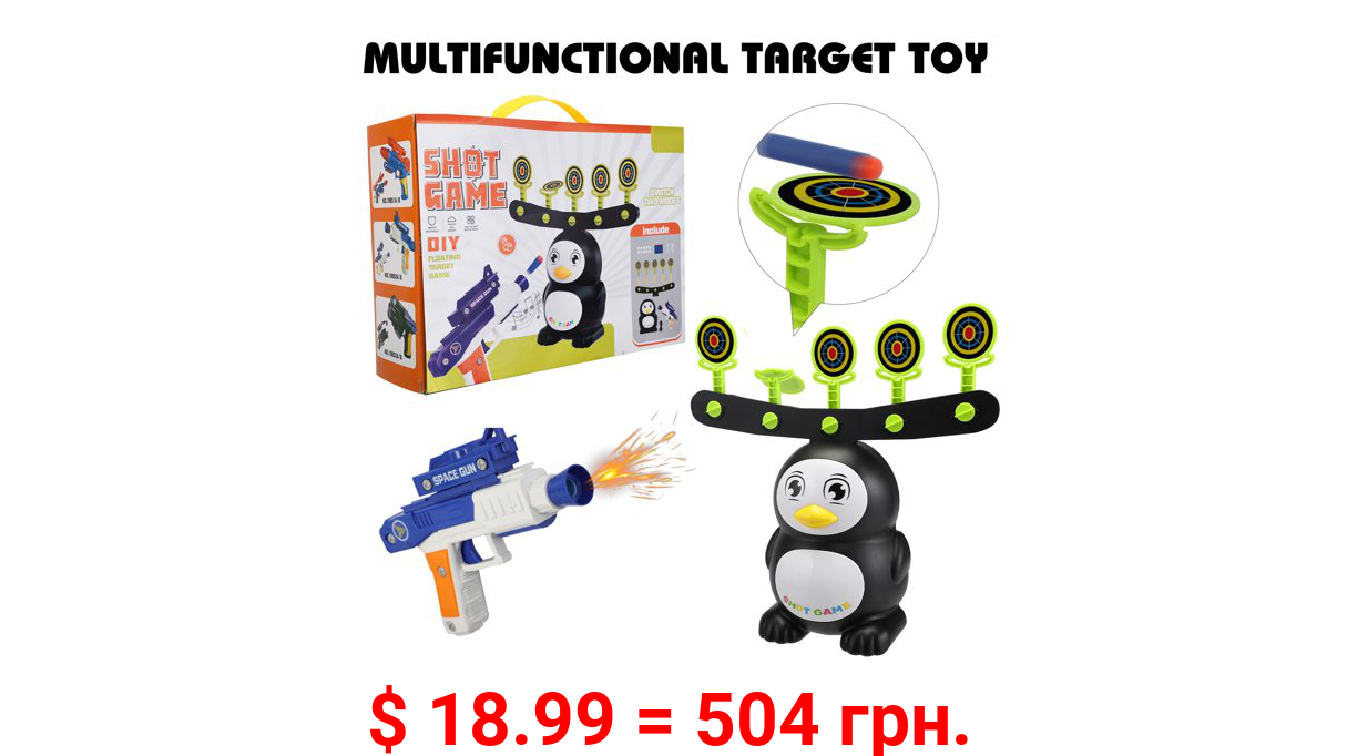 Tobbi Electric Target Shooting Game, Target Practice Toys for Boys and Girls with Foam Dart Toy Gun, 10 Floating Balls, 5 Flipping Role Targets, 6 EVA Darts, 24 Soft Bombs