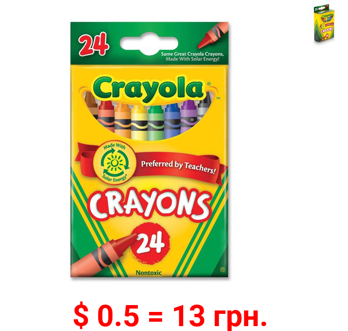 Crayola Classic Crayons, Assorted Colors, Back to School, 24 Count