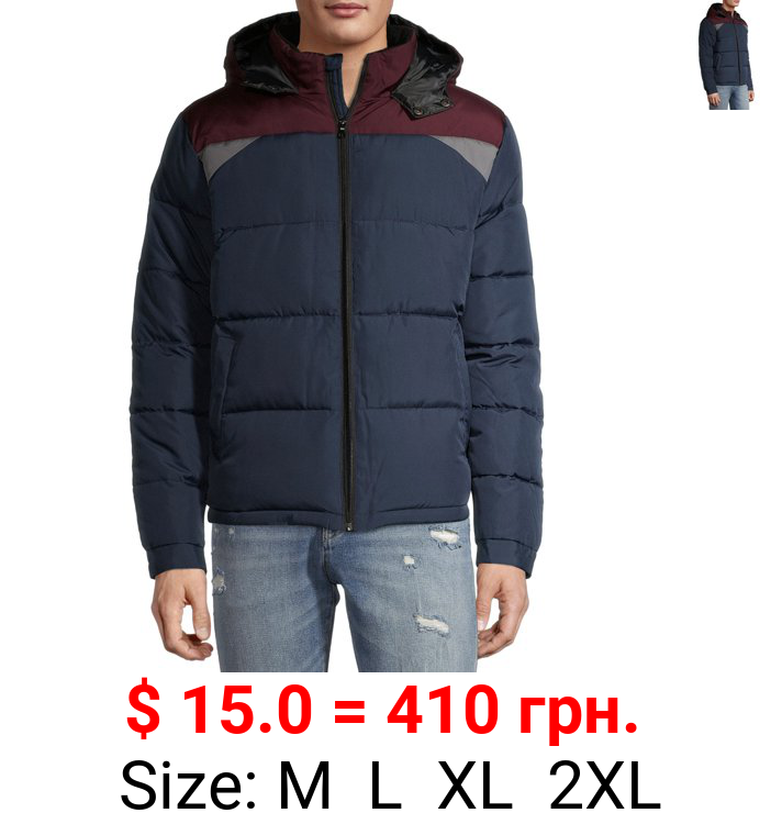 Cherokee Men's Colorblocked Puffer Jacket with Faux Sherpa Collar, up to Size 2XL