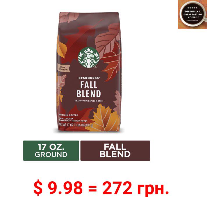 Starbucks Ground Coffee, Fall Blend Medium Roast Coffee, 17 Oz