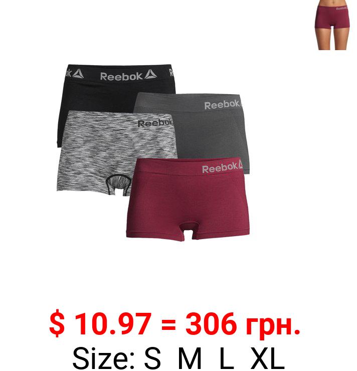 Reebok Women's Seamless Boyshort Panties, 4-Pack