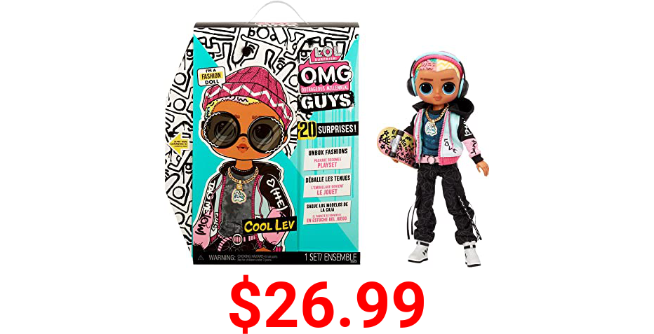 LOL Surprise OMG Guys Fashion Doll Cool Lev with 20 Surprises Including Skateboard and Accessories for Multiple Looks