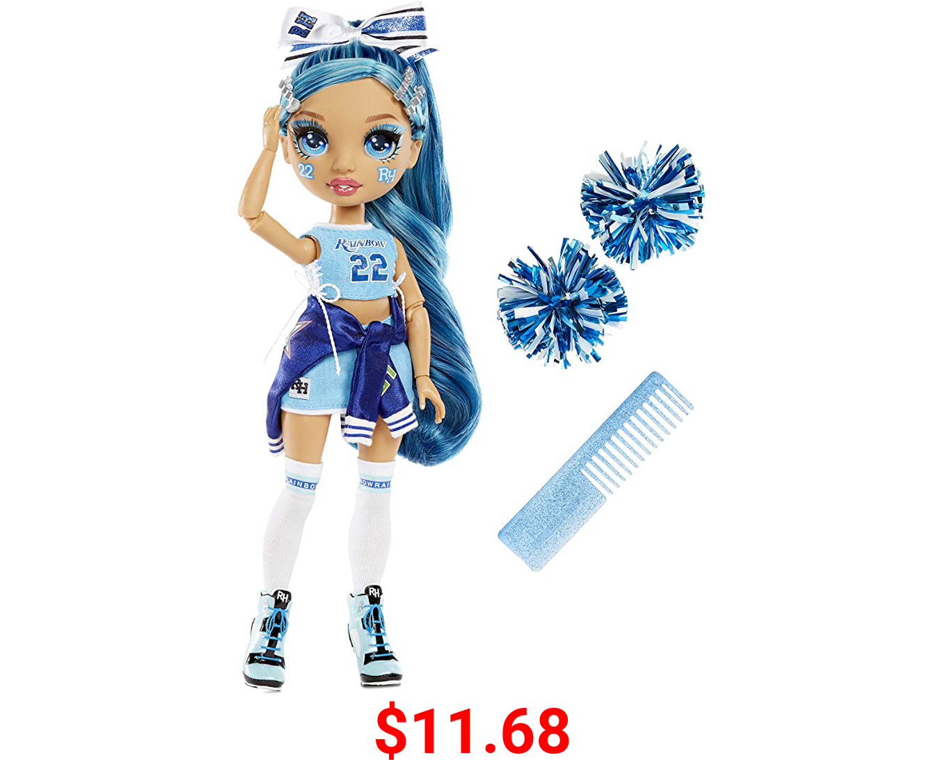 Rainbow High Cheer Skyler Bradshaw – Blue Cheerleader Fashion Doll with Pom Poms and Doll Accessories, Great for Kids 6-12 Years Old