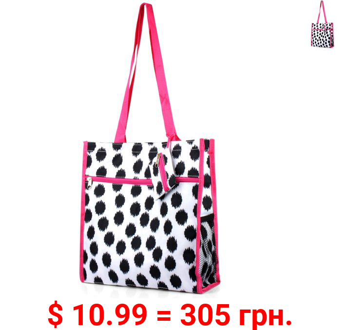Zodaca Lightweight All Purpose Handbag Zipper Carry Tote Shoulder Bag Attached Coin Purse for Travel Shopping