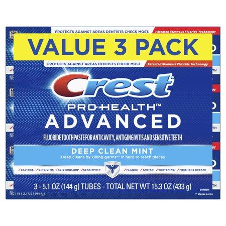 Crest Pro Health Advanced Deep Clean Toothpaste, Mint, 5.1 oz, 3 Pack