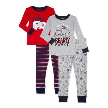 Wonder Nation Baby & Toddler Boys Long Sleeve Snug Fit Cotton Pajamas, 4-Piece Set