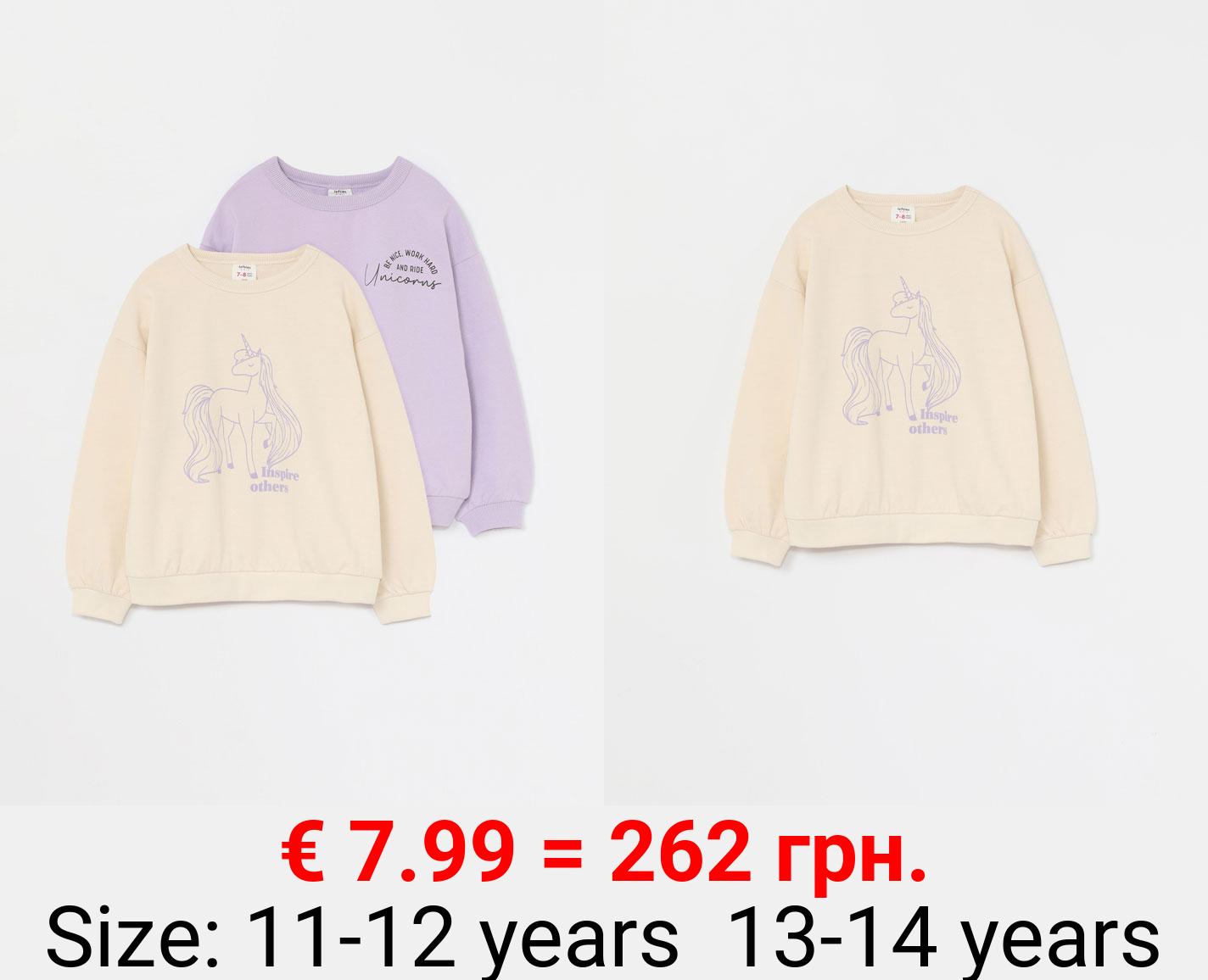 Pack of 2 printed sweatshirts