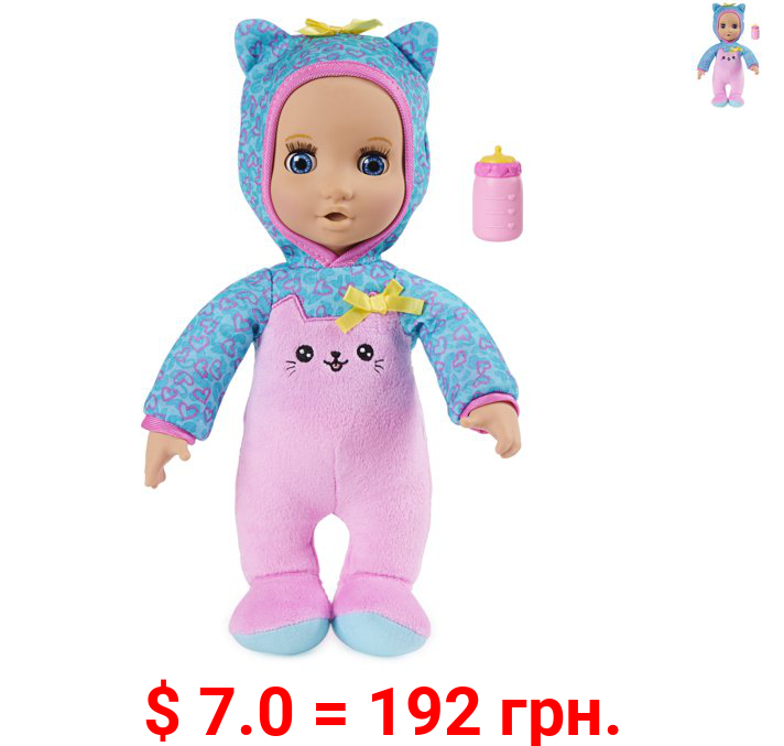 Luvzies by Luvabella, Kitten Onesie 11-inch Cuddly Baby Doll with Bottle Accessory, for Kids Aged 4 and up