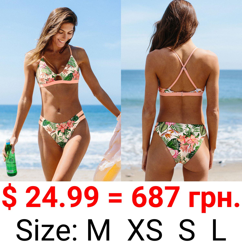Carolyn Leafy and Floral Crisscross Strappy Bikini