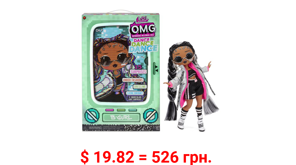 LOL Surprise OMG Dance Dance Dance B-Gurl Fashion Doll with 15 Surprises Including Magic Blacklight, Shoes, Hair Brush, Doll Stand and TV Package - For Girls Ages 4+
